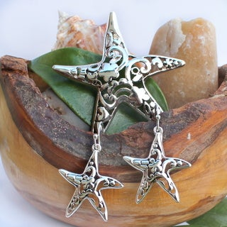 Hammered Metal Art Sea Star Necklace Choker Pendant and Earrings Jewelry Set