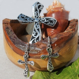 Hammered Metal Art Cross Necklace Choker Pendant and Earrings Jewelry Set