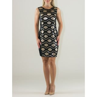 Black and Gold Cotton and Polyester Sleeveless Sequined Panel Sheath Dress