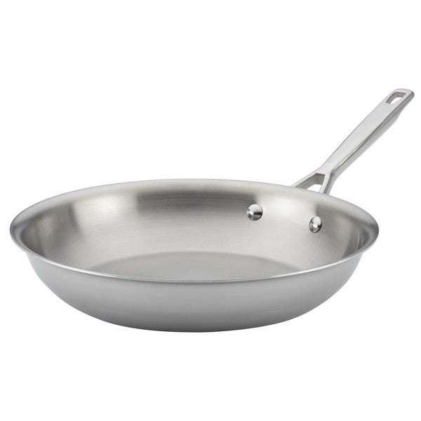 Anolon Tri-Ply Clad Stainless Steel French Skillet/Fry Pan, 12.75-Inch