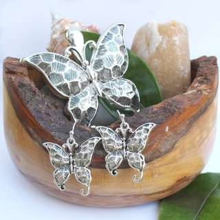 Hammered Metal Art Butterfly Necklace Choker Pendant and Earrings Jewelry Set