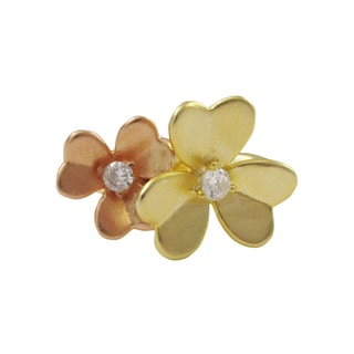 Luxiro Two-tone Gold Finish Sterling Silver Cubic Zirconia Flower Statement Ring