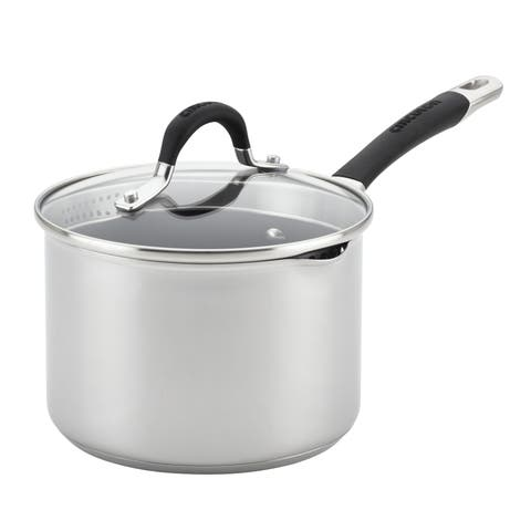 Circulon Momentum Stainless Steel Nonstick Covered Straining Saucepan with Pour Spout, 3-Quart