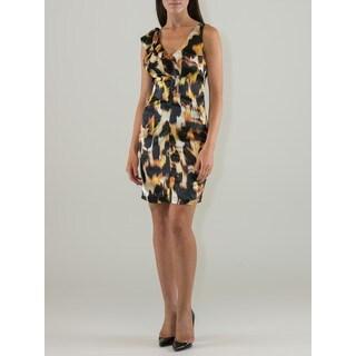 Women's Animal Print Ruffle Shoulder Dress