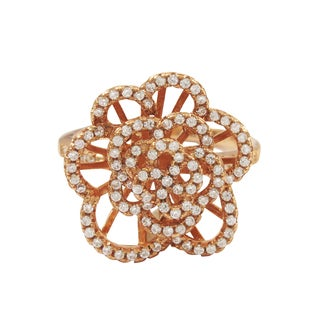 Luxiro Rose Gold Finish Sterling Silver Cubic Zirconia Flower Statement Ring