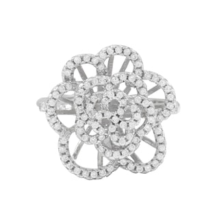 Luxiro Sterling Silver Cubic Zirconia Flower Statement Ring
