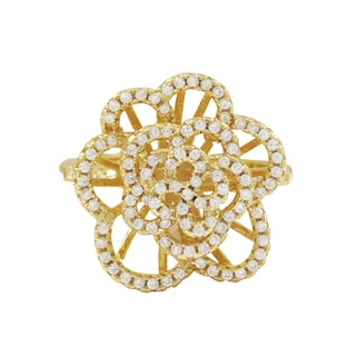 Luxiro Gold Finish Sterling Silver Cubic Zirconia Flower Statement Ring