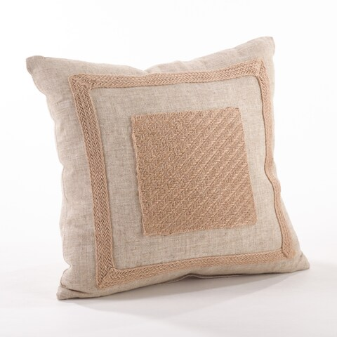 Jute Framed Border Down FIlled Throw Pillow