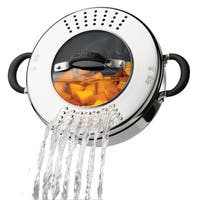 Circulon Momentu Stainless Steel Nonstick 4-Quart Covered Casserole with Locking Straining Lid