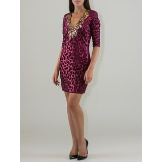 Women's Burgundy and Gold-tone Velvet Sequin Dress