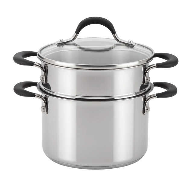 Shop Circulon Momentum Stainless Steel Nonstick Covered Straining Saucepot With Steamer Insert