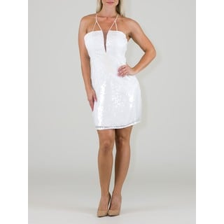 White Polyester Party Dress with Sequins