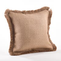 Frayed Fringe Textured Throw Pillow