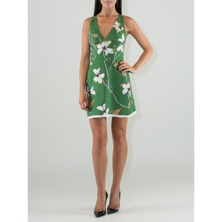 Women's Floral Design V-neck Sheath Dress