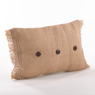 Fringe Jute Button Throw Pillow
