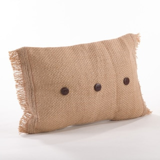 Fringe Jute Button Throw Pillow
