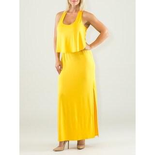 Women's Viscose and Spandex Crochet Racerback Maxi Dress
