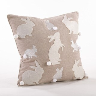 Cottontail Bunny Rabbit Embroidered Throw Pillow