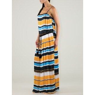 Women's Multicolored Polyester Striped Pleated Maxi Dress