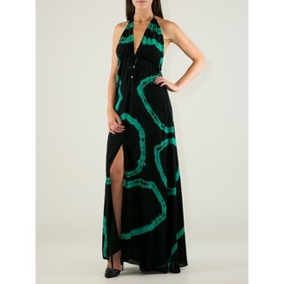 Women's Viscose Deep V-neck Tie-dye Halter Maxi Dress