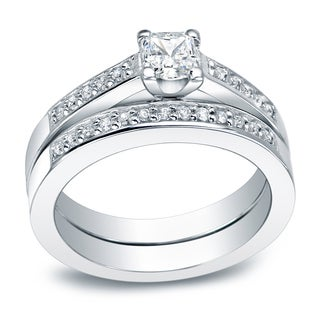 Auriya Platinum 1ct TDW Princess Cut Diamond Halo Bridal Ring Set (I-J, I2-I3)