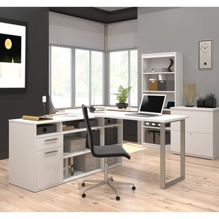 Bestar Solay L-Shaped Desk with lateral file and bookcase