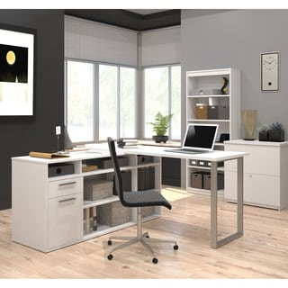 Bestar Solay L Shaped Desk With Lateral File And Bookcase