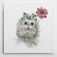 Wexford Home Carol Robinson 'Garden Critter Hedgehog' Premium Gallery-wrapped Giclee Canvas
