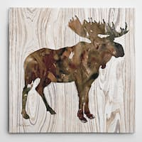 Wexford Home 'Pine Forest Moose' Wrapped Canvas