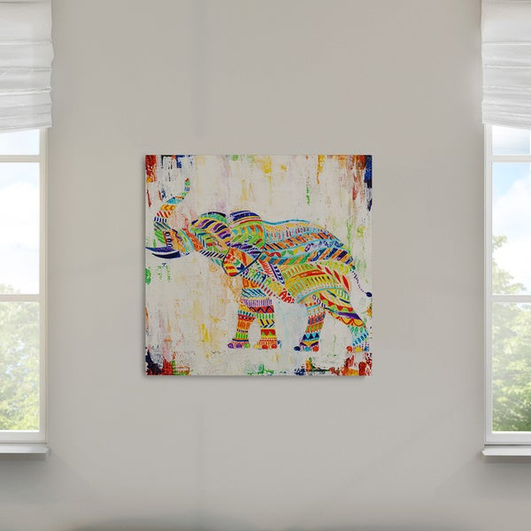 Wexford Home Mike Calascibetta 'Magical Elephant' Hand-wrapped Giclee Canvas Wall Art