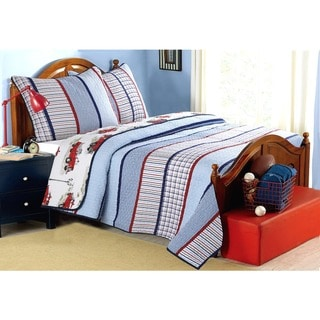 Link to Cozy Line Benjamin Stripe Truck Print 3-piece Quilt Set Similar Items in Kids Quilts & Coverlets