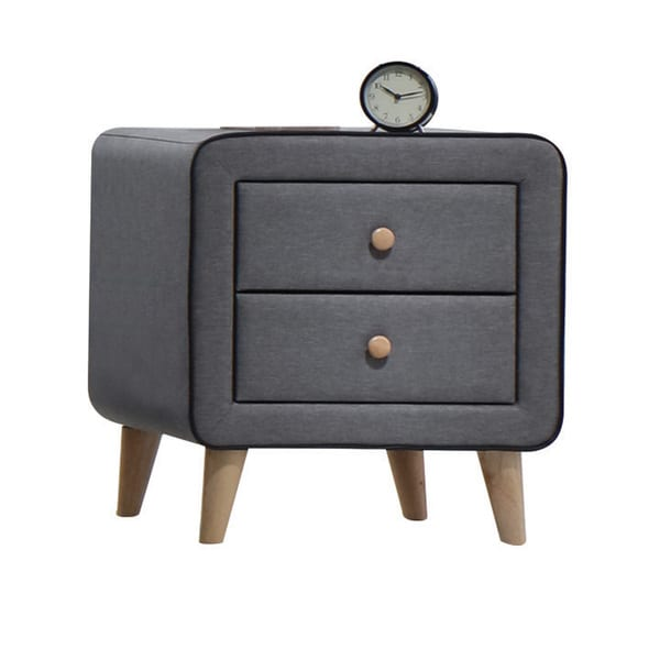 Acme Furniture Valda Light Grey Fabric 2-drawer Nightstand
