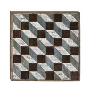 Benzara Multicolored Wood Geometric Wall Art