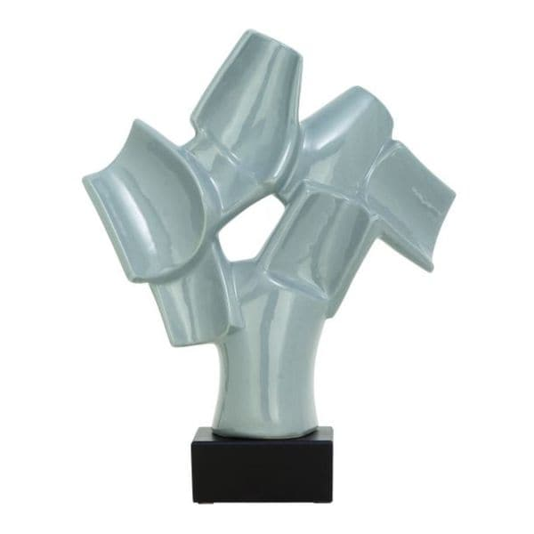 Benzara Black and Grey Ceramic Abstract 12-inch x 15-inch Sculpture