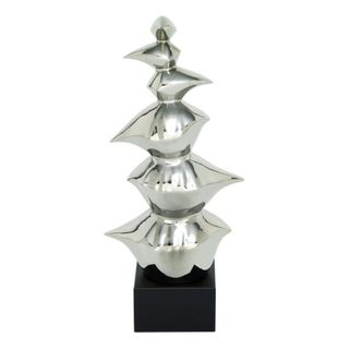 Benzara Ceramic Silvertone Abstract Sculpture