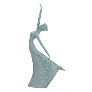 Benzara Grey Ceramic Ballet Dancing Woman Figurine