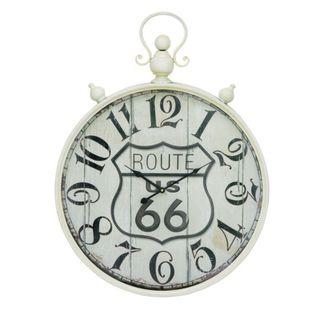 Benzara White Metal Route 66 Wall Clock