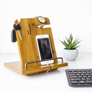 Brown Wood Personalized Docking Station