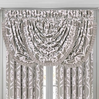 Five Queens Court Ivy Silver Waterfall Valance with Pleats