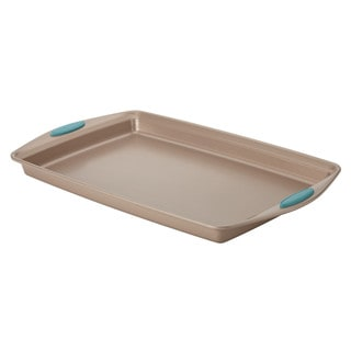 Rachael Ray Cucina Nonstick Bakeware Baking Pan / Cookie Sheet, 11-Inch x 17-Inch, Latte Brown, Agave Blue Handle Grips