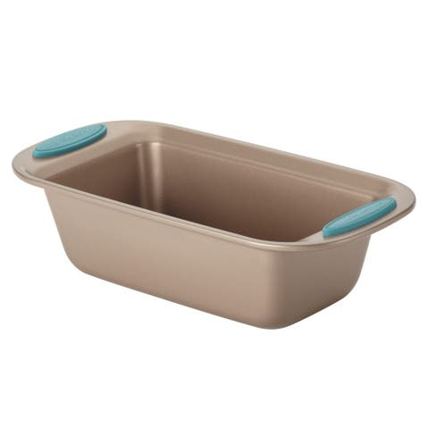 Rachael Ray Cucina Nonstick Bakeware Bread / Meat Loaf Pan, 9-Inch x 5-Inch, Latte Brown, Agave Blue Handle Grips