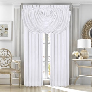 Five Queens Court Mackay White Woven Waterfall Valance with Pleats