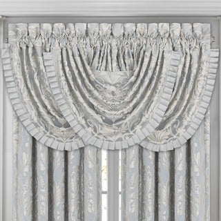 Five Queens Court Faith Blue Woven Jacquard Waterfall Valance