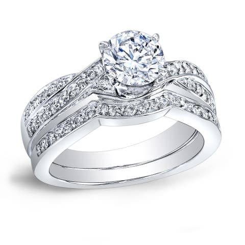 Auriya Platinum 4/5ctw Twisted Round Diamond Engagement Ring Set