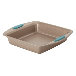 Rachael Ray Cucina Nonstick Bakeware Square Cake Pan, 9-Inch, Latte Brown with Agave Blue Handles