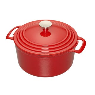 Cooks 3.5-Quart Red Enameled Cast Iron Dutch Oven