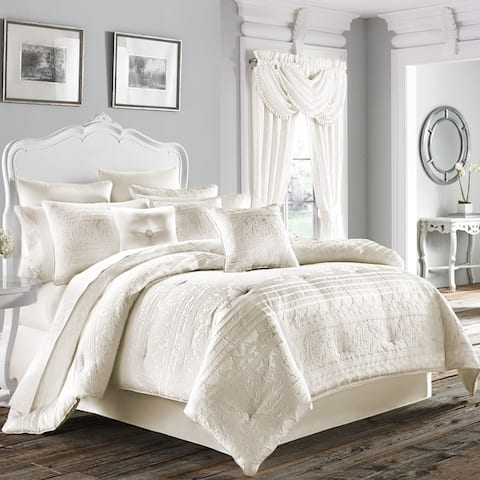 Five Queens Court Mackay Woven Scroll Horizontal Stripe 4-piece Comforter Set