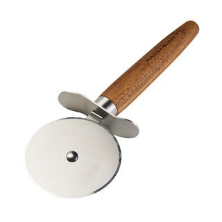 Rachael Ray Cucina Stainless Steel Pizza Cutter/Pizza Wheel, Acacia Wood Handle