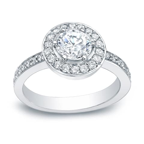 Auriya Platinum 2/5 carat TW Round Halo Diamond Engagement Ring