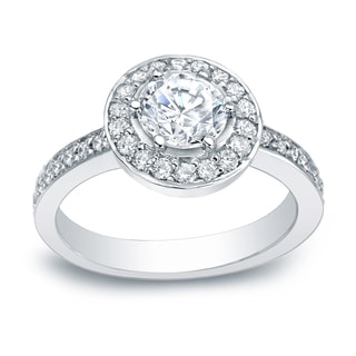 Auriya Platinum 2 5 Carat TW Round Halo Diamond Engagement Ring